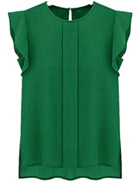 Camisas Mujer Blusa de Gasa Suelta de Manga Corta Camisa Tops