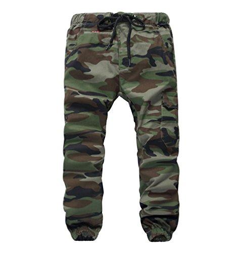 YoungSoul Hosen für Jungen - Jogginghose mit Bündchen und Military-Muster - Cargohose mit Kordel-Taille Armeegrün(Loose Fit) 152-164 (Kinder-cargo-hose)