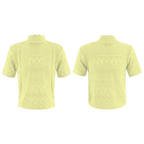 Nuovo da donna lavorato a maglia bolero cardigan uncinetto Coprispalle aperta manica corta Plus taglia UK8 – 22 Yellow