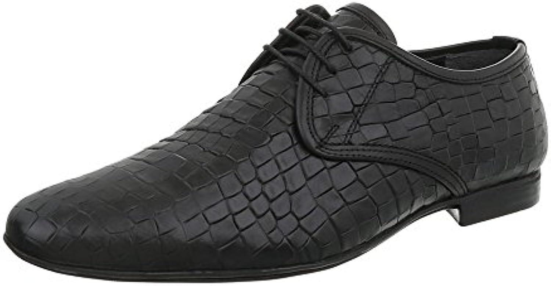 Ital Design Herrenschuhe Business Schuhe Budapester Stil Glattleder Schwarz Gr. 42
