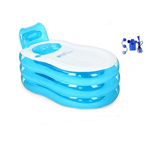 LQQGXL,Bad Aufblasbare Familie mit Faltbadewanne für Erwachsene Aufblasbare Badewanne ( Farbe : Blau ) (Glauben Fußball Und Familie)
