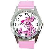 Taport The Pink Panther orologio al quarzo, sci FI rosa vera pelle Band con batteria di ricambio + free Gift bag