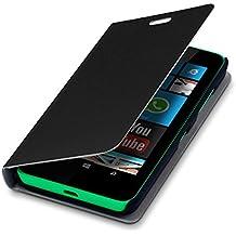 kwmobile Cover per Nokia Lumia 630 - Custodia protettiva apribile a libro Case stile flip in nero
