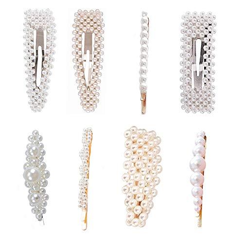 Perle Haarspangen, 8 Stück Perle Haarspangen für Mädchen Frau, handgemachte künstliche Perle Haarnadeln Haarspangen Zubehör dekorativ für Braut passende süße, wunderschöne Stil etc ..