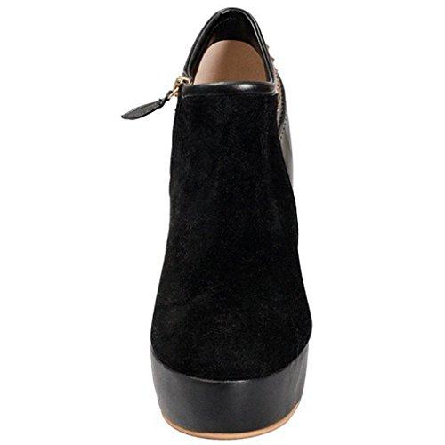 Stivaletti impermeabili della caviglia dell'alto tallone della signora Autunno Inverno Booties Stivaletti a caviglia rivettati Caricamenti del posto di lavoro Pelle Taglia larga 8004FD , Red , 38 BLACK-41