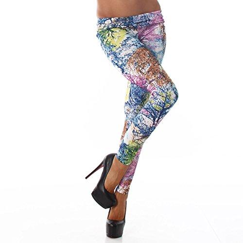 Damen Leggings Leggins Hose Body-Slim Hose Karotte Lang Ohne Verschluss Design Tapered Blau KY-370
