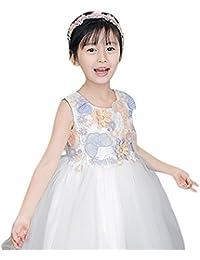 JYJM - Ropa de niña para 4 – 10 años, vestido de boda con flores y encaje, para fiesta de princesa, vestido formal,…