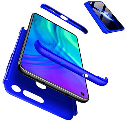 JJWYD Handyhülle für Huawei Honor View 20/V20 Hülle + Displayschutzfolie Extra Dünn Ultra Slim Leichte Stoßfest Feine Matte Cover Schutzhülle Schale Hardcase - Blau