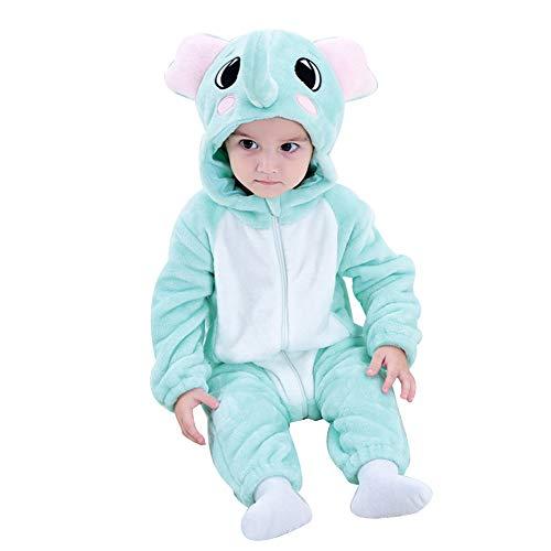 LSERVER Mameluco de Cosplay para Bebés Recién Nacidos Ropa de Arrastre Disfraz Unisexo de Franela con Capucha Estilo Animales, Elefante, 90 (Altura Recomendada:73-80cm)