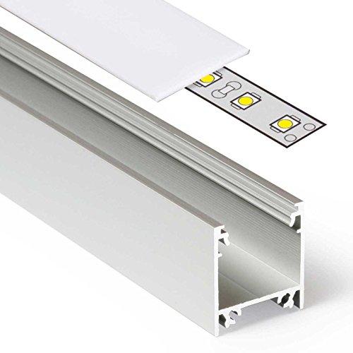 2m Aluprofil LINEA (LI) 2 Meter Aluminium Profil-Leiste eloxiert für LED Streifen - Set inkl Abdeckung-Schiene milchig-weiß opal mit Montage-Klammern und Endkappen (2 Meter milchig slide)