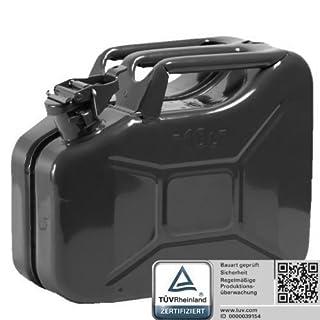 Oxid7® Benzinkanister Kraftstoffkanister Metall 10 Liter schwarz mit UN-Zulassung - TÜV Rheinland Zertifiziert - Bauart geprüft - für Benzin und Diesel