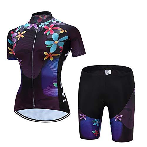 YDJGY Sommer Damen Kurzarmtrikot,Feuchtigkeitstransportierender Outdoor-Mountainbike-Radsportanzug