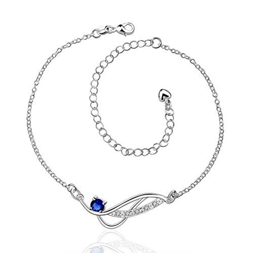 SunIfSnow donna semplice geometrico ciondolo con zirconi AAA Anello classico piccolo Link Cavigliera, placcato argento, colore: Blue, cod. 2016051224
