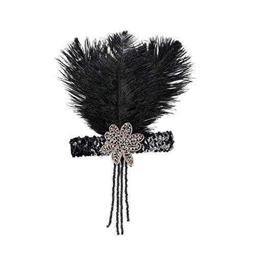 Frcolor Feder Haarband Stirnband Pailletten Haar Kranz Hochzeit Kopfschmuck für Braut Brautjungfer (schwarz)