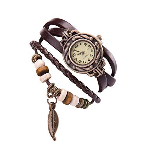 ❤️Montres Femme, Amlaiworld Femmes Montres Vintage Bracelet Montres Montre Thème de Papillon Elégant Pendentif Feuille Montre Robe Soirée (1, Cafe)