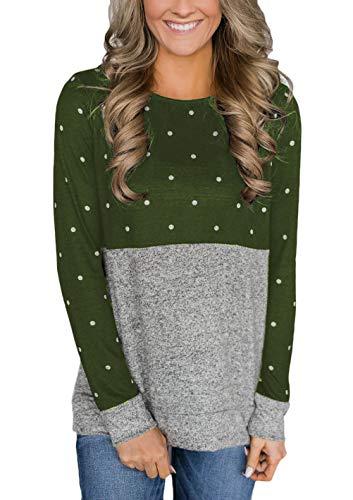 Langarmshirt Damen Vintage Fashion Polka Dots Sweatshirt Jungen Rundhals Langarm Elegante Locker Lässige Basic Shirts Tops Herbst Winter (Color : Grün, Size : L) - Polka Dots Jumper