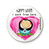 #6: Doodle Monk I Work from here (Girl) - Badge