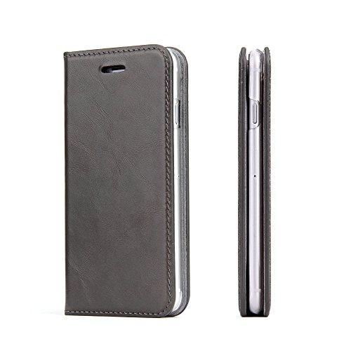 Wormcase ® Handytasche kompatibel mit iPhone 8 und 7 - LEDERHÜLLE - HANDGEFERTIGT - KARTENFACH - MAGNETVERSCHLUSS -Farbe Grau- Case Echt-Leder-Tasche-Hülle-Case Etui Flip Case Cover Schutz-huelle -