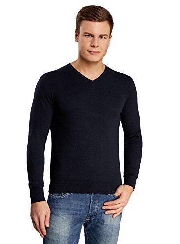 oodji Ultra Herren Eng geschnittener Pullover mit geripptem Ausschnitt aus weicher Baumwolle Blau (7900M)