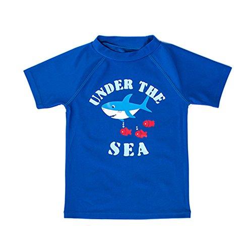 ESTAMICO Kleinkind Jungen Rash Guard Kinder Sonnenschutz UV UPF 50+ Kurzarm Sommer Schwimmen Shirt Blau 2 Jahre