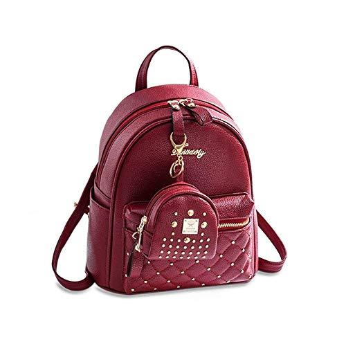 Mini Babala Damen Tasche Set Daypack PU Rucksack Backpack mit Clutch Geldbörse Kartenetui Schwarz