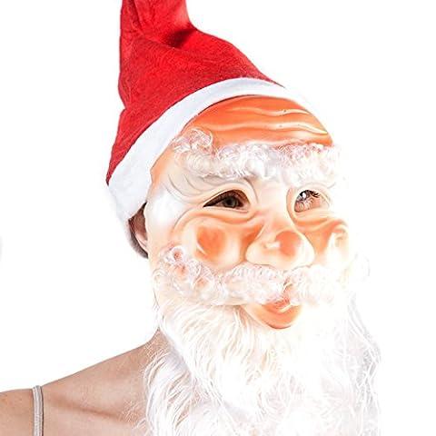 Accessoryo - unisex Vater Weihnachten Gesichtsmaske mit angeschlossenem roten Sankt-Hut und Bart
