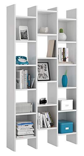 BRIKASA Libreria Moderna Design in Legno Colore Bianco con Scaffali e Ripiani Italian da Ufficio Camera Soggiorno