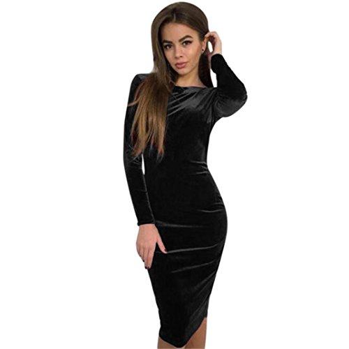 ZEZKTRückenfreies Samt Kleid,Frauen Elegant Kleider Vintage Langarm ...