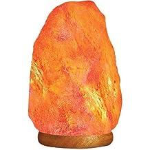 HemingWeigh - Lámpara de Sal de Roca del Himalaya Natural de 2.72-3.17 kgs con Base de Madera, Cable Eléctrico & Bombilla