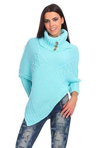 futuro Fashion femmes Lourds épais poncho tricoté garde au chaud Pull-over Col roulé pull avec Boutons Acrylique PULL TAILLE 8-14 fas9x Menthe