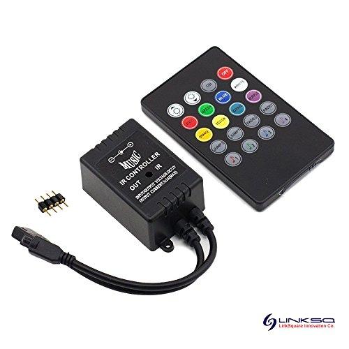 20 Tasten IR Remote Control Fernbedienung, 12V Musik Audio Sound Sensor Controller Kontroller Steuerung, 25cm DC Männlich Stecker Kabel für RGB LED Strip Streifen Licht von LinkSquare