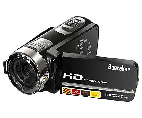 Caméscope Vidéo,Besteker 16X Zoom Portable FHD 1080p Caméra Numérique DV avec 3.0 TFT LCD Rotation Ecran Tactile(Max 24.0 Mégapixels,Vision Nocturne IR,Détection de Visage,Télécommande)