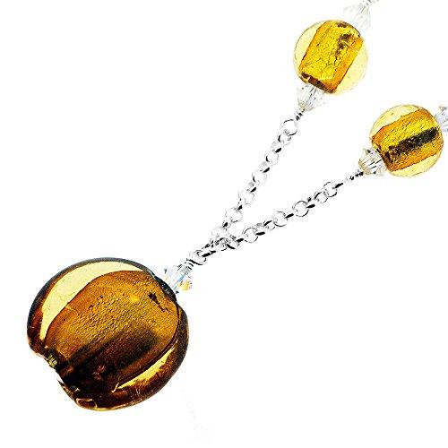 Sterling Silber Murano Bernstein runden Korn und Kristall-Halskette. Wunderschön in einem Premium-Geschenk-Box und Organzabeutel vorgestellt. -