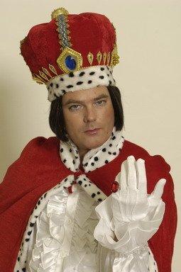 Krone Königskrone Kostüm-Accessoire rot-schwarz-weiss-gold (Erwachsene Krone Samt König)