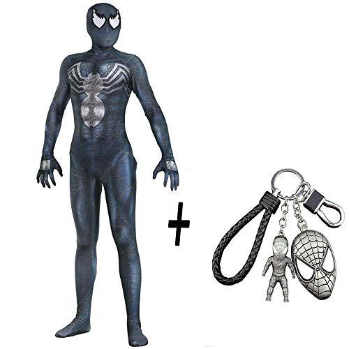 er Man Kostüm Cosplay Strumpfhosen Kleid Cosplay Halloween Adult Strumpfhosen Party Free Spiderman Keychain,Black-S ()