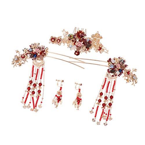 Baoblaze Alte Chinesische Quaste Haarkamm Pin Ohrringe Set Kostüm Kopfschmuck Hochzeit Tiara - Chinesisch Inspirierte Kostüm