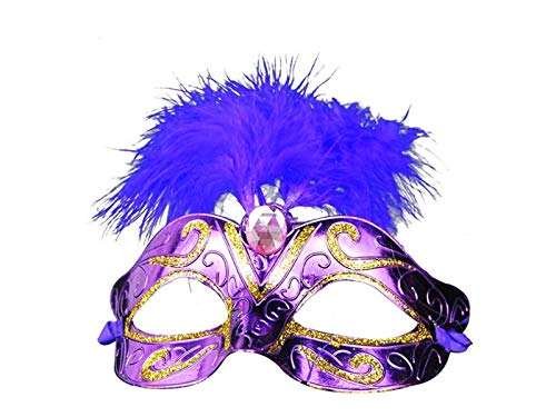 DOOUYTERT Künstliche Blumen Künstliche Feather Mask Venezianische Maske für Halloween Party Weihnachten (lila) Hochzeitssträuße (Farbe : Purple, Größe : 18X10cm)