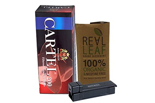 Real Leaf organic smoking mixture tobacco substitute 100% nicotine free + rolling machine + 200 king size filtered cigarette tubes