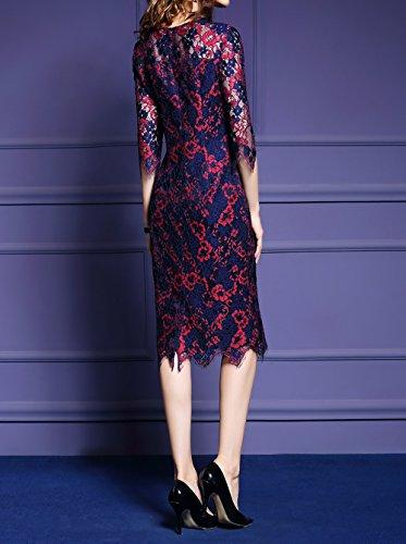 LAI MENG Damen Premium Midikleid aus Häkelspitze mit 2/3 Ärmel Ballkleid Festliches Kleid A-Linie Kleider Knielang Red Blue