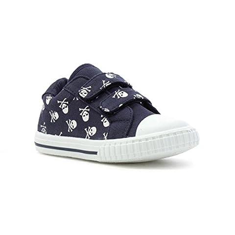 Walkright Kids Navy Skulls Easy Fasten Canvas Shoe - Size 4 Child UK - Blue