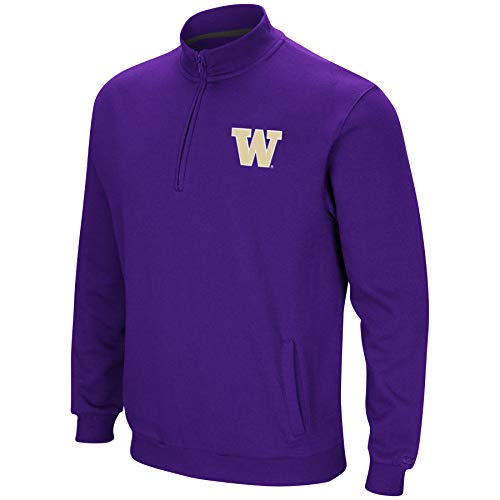 Colosseum NCAA Herren Tailgater Baumwoll-Polyfleece 1/4 Zip Pullover, Herren, Washington Huskies-Purple, X-Large