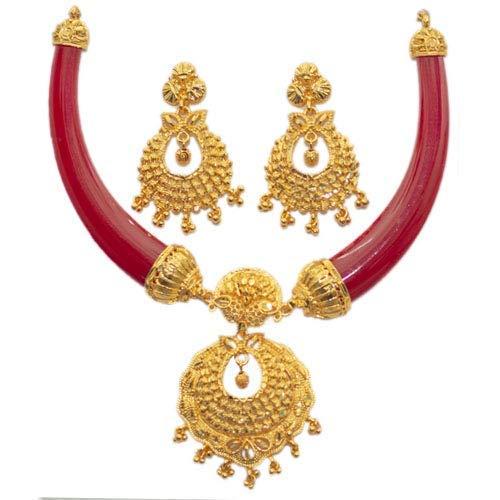 JESSORESWARI JEWELLERS Red Zinc Pola Necklace Jewellery for Women (A2)