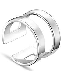 Sweetiee anillos mujer 925 plata de ley banda doble, platino, 18mm