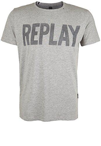 Replay -  T-shirt - Asimmetrico - Collo a U  - Maniche corte  - Uomo Grey X-Large