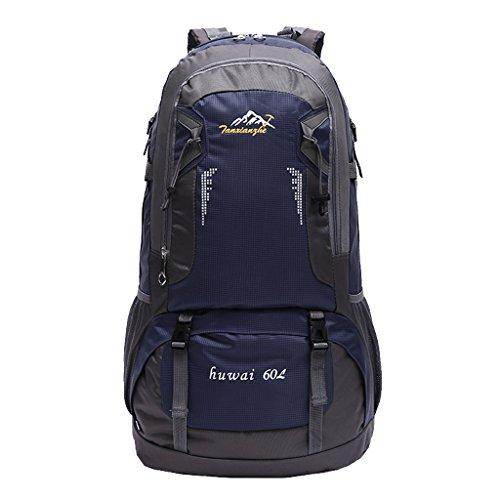 Impermeabile Borsa Zaino Esterno Dello Zaino Di Corsa Di Sport Trekking Escursionismo, 60L - Arancione Blu scuro