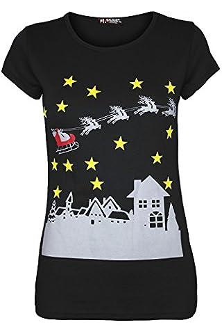 Damen Weihnachten T Shirt Damen Rentier auf Wand Weihnachts Schneeflocke Jersey Cap Sleeve Top Gr. S/M, Stars Black