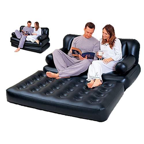WYX Outdoor Aufblasbare Gartensofa Lounge Blow Up Doppel Luftbett Multifunktions Klappcouch Camping Weiches Bett Für 2 Personen