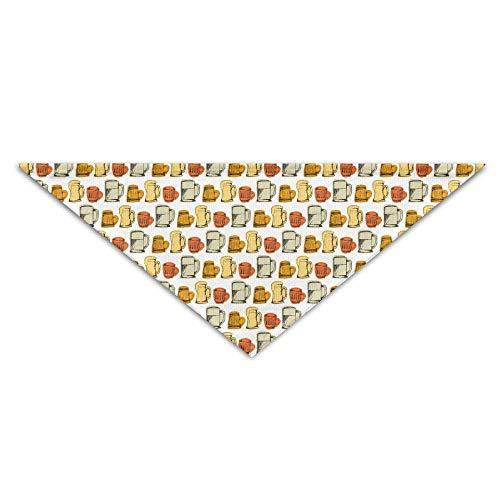 Hectwya Haustier-Bandanas-Karikatur-Getränk-Bier-Muster-Hundebandanas-Schals-Dreieck-Lätzchen Schals Lustige grundlegende Hunde Halstuch-Katzenhalsbänder