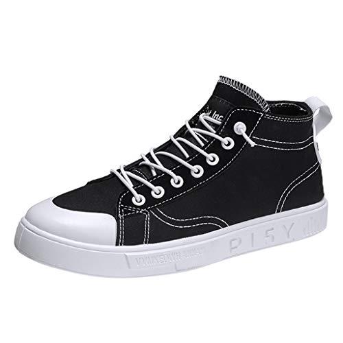 Aoogo Herren Segeltuchschuhe Retro High-Top atmungsaktive Flache Schuhe Trend Volltonfarbe Freizeitschuhe, Herren Schnürschuhe Reine Farbe Schuhe Canvas Shoes (Frye Leder-jeans)