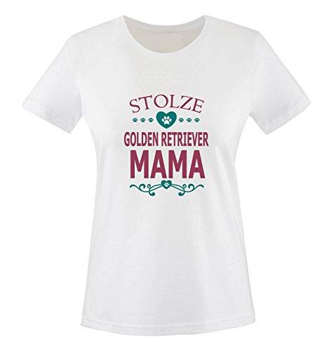 Comedy Shirts - Stolze Golden Retriever Mama - HERZ - Damen T-Shirt - Weiss / Fuchsia-Türkis Gr. XXL